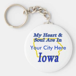 My Heart & Soul Are In Iowa Keychain
