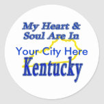 My Heart & Soul Are In Kentucky Round Stickers