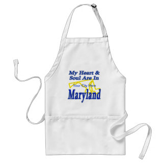 My Heart & Soul Are In Maryland Adult Apron