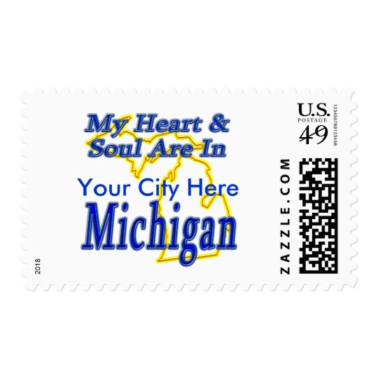 My Heart & Soul Are In Michigan Postage