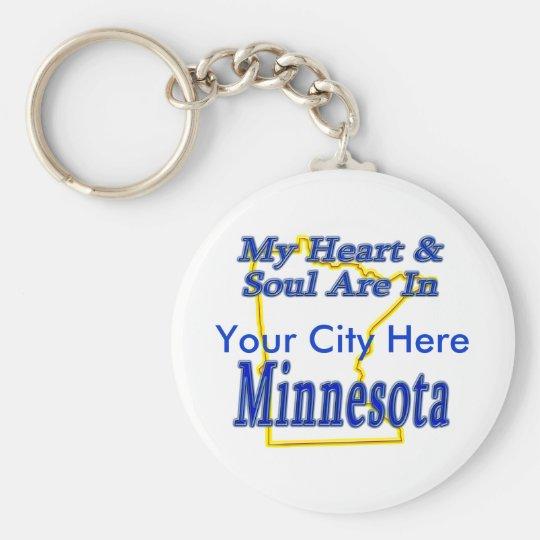 My Heart & Soul Are In Minnesota Keychain