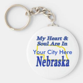 My Heart & Soul Are In Nebraska Keychain