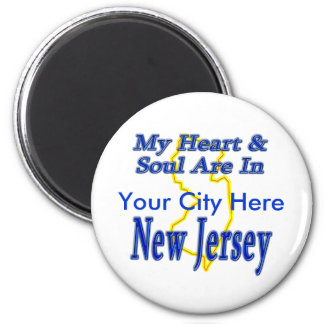 My Heart & Soul Are In New Jersey Refrigerator Magnets