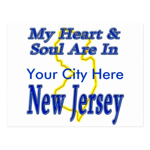 My Heart & Soul Are In New Jersey Postcards