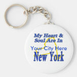 My Heart & Soul Are In New York Basic Round Button Keychain