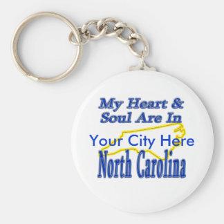 My Heart & Soul Are In North Carolina Keychain