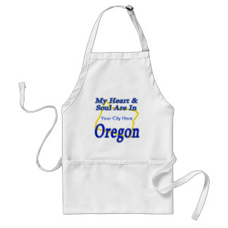 My Heart & Soul Are In Oregon Adult Apron