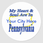 My Heart & Soul Are In Pennsylvania Classic Round Sticker