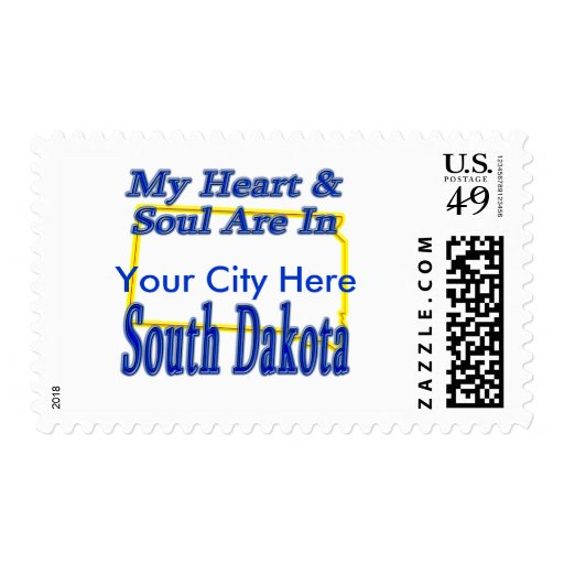 My Heart & Soul Are In South Dakota Postage Stamp