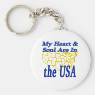 My Heart & Soul Are In the USA Keychain