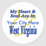 My Heart & Soul are in West Virginia Classic Round Sticker