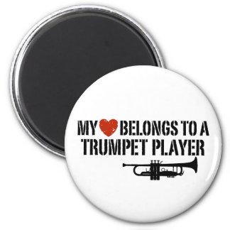 My Heart Trumpet Player 2 Inch Round Magnet