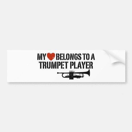 My Heart Trumpet Player Car Bumper Sticker