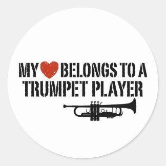 My Heart Trumpet Player Classic Round Sticker