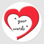 My Heart, Your Words Sticker (red on white)