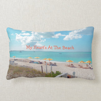 """My Heart's At The Beach"" Beach Scene On Pillow"
