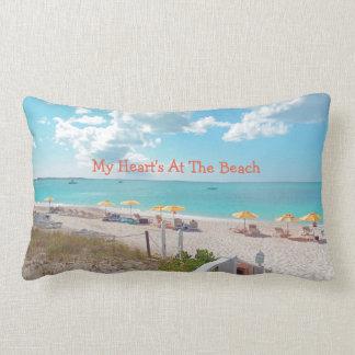 """My Heart's At The Beach"" Beach Scene On Pillow"