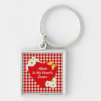 My Heart's Desire Valentine Square Keychain