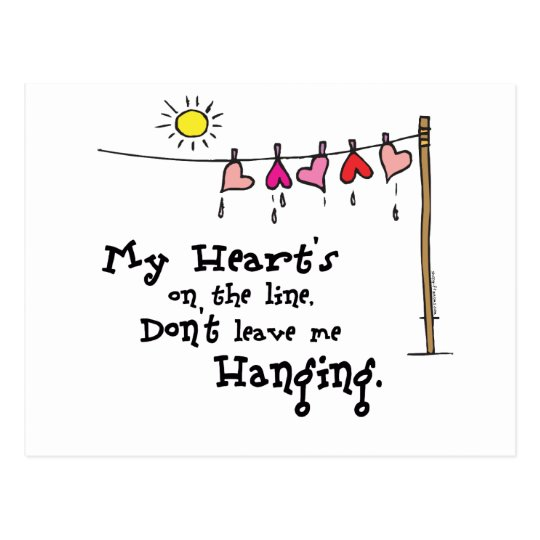 My Heart's on the Line Valentines Gear Postcard