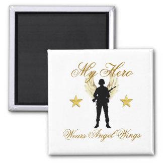 my hero, 1142, 1142, My Hero , Wears Angel Wings 2 Inch Square Magnet
