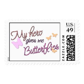 My hero gives me butterflies postage