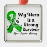 My Hero is a Strong Survivor Green Ribbon Metal Ornament