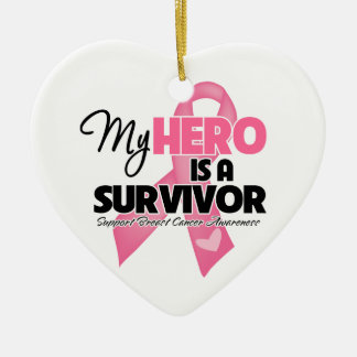 My Hero is a Survivor - Breast Cancer Ornaments