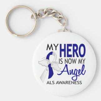 My Hero Is My Angel ALS Basic Round Button Keychain