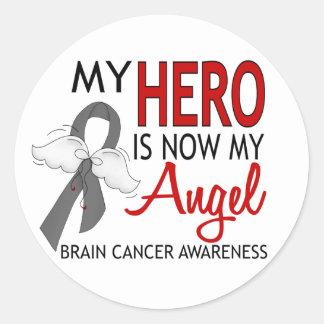My Hero Is My Angel Brain Cancer Classic Round Sticker