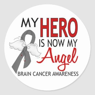 My Hero Is My Angel Brain Cancer Classic Round Sticker