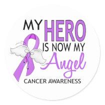 My Hero Is My Angel Cancer Classic Round Sticker