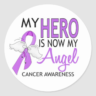My Hero Is My Angel Cancer Classic Round Sticker