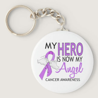 My Hero Is My Angel Cancer Keychain