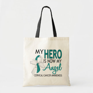 My Hero Is My Angel Cervical Cancer Budget Tote Bag