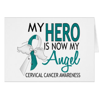 My Hero Is My Angel Cervical Cancer Greeting Card