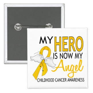 My Hero Is My Angel Childhood Cancer 2 Inch Square Button