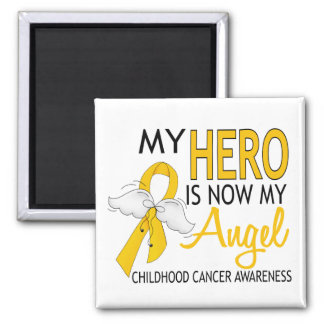 My Hero Is My Angel Childhood Cancer 2 Inch Square Magnet
