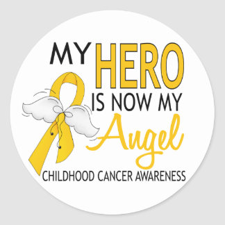 My Hero Is My Angel Childhood Cancer Classic Round Sticker