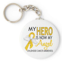 My Hero Is My Angel Childhood Cancer Keychain