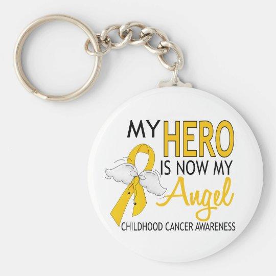 My Hero Is My Angel Childhood Cancer Keychain