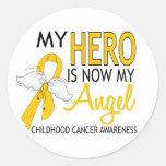 My Hero Is My Angel Childhood Cancer Classic Round Sticker
