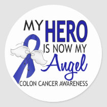 My Hero Is My Angel Colon Cancer Classic Round Sticker