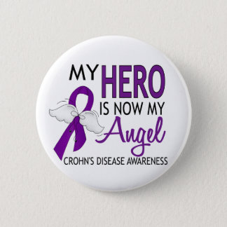 My Hero Is My Angel Crohn's Disease Pinback Button