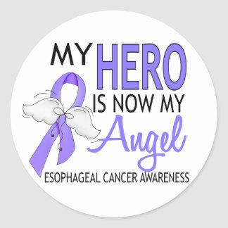 My Hero Is My Angel Esophageal Cancer Classic Round Sticker