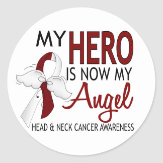 My Hero Is My Angel Head And Neck Cancer Classic Round Sticker