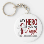 My Hero Is My Angel Head And Neck Cancer Basic Round Button Keychain