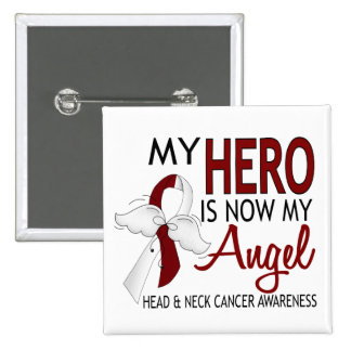 My Hero Is My Angel Head And Neck Cancer Pinback Button
