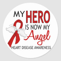 My Hero Is My Angel Heart Disease Round Stickers