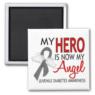 My Hero Is My Angel Juvenile Diabetes 2 Inch Square Magnet