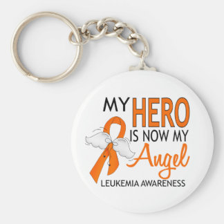 My Hero Is My Angel Leukemia Basic Round Button Keychain